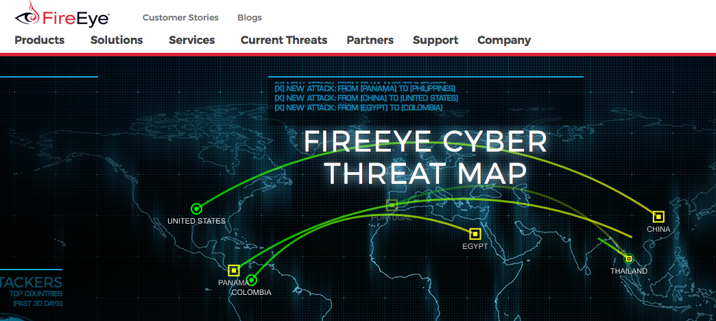 Map showing cyber attacks real time